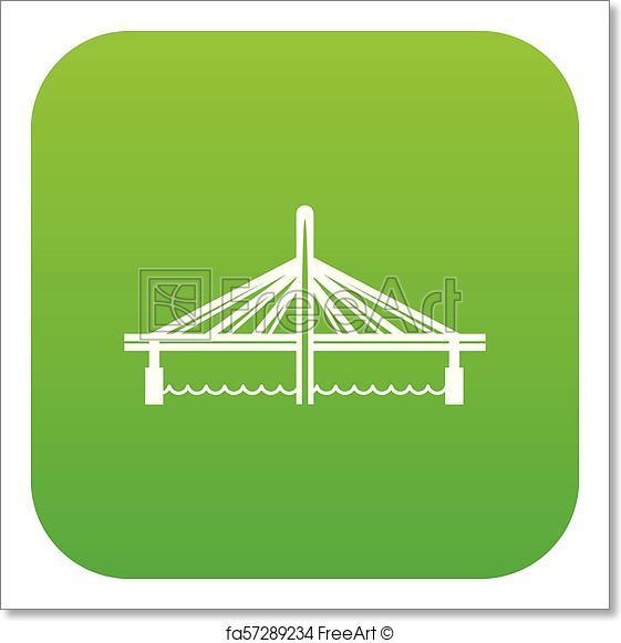 561x581 Free Art Print Of Millau Viaduct Bridge Icon Green Vector. Millau