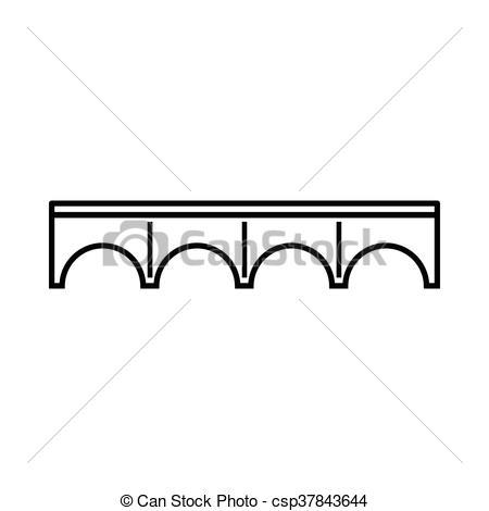 450x470 Bridge Icon, Outline Style. Bridge Icon In Outline Style Isolated