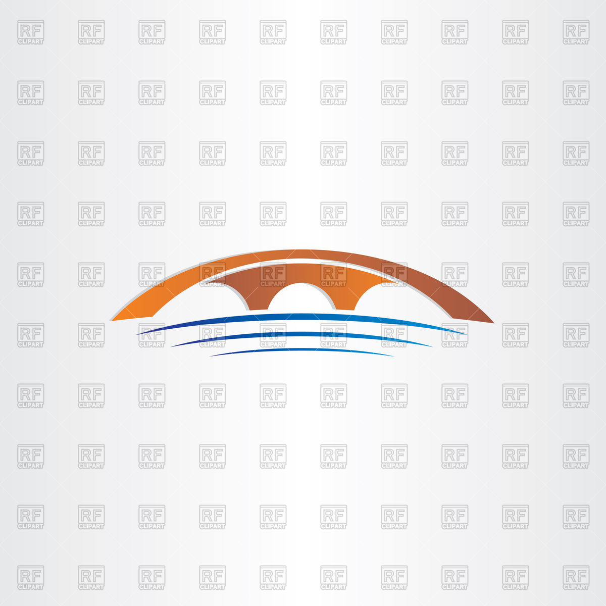 1200x1200 Bridge And River Stylized Icon Vector Image Vector Artwork Of