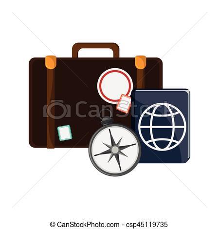 450x470 Travel Briefcase Icon. Travel Briefcase, Passport And Compass Icon