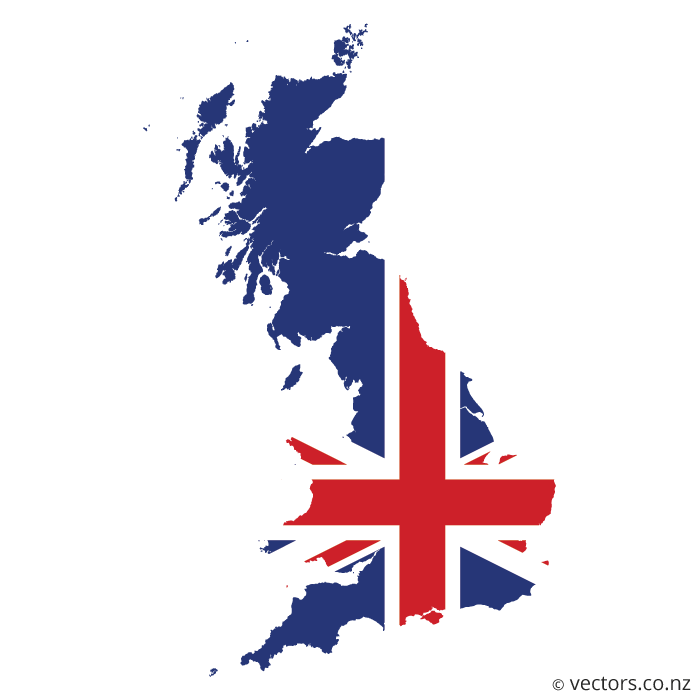 700x700 Uk Flag Vector Map Of Great Britain