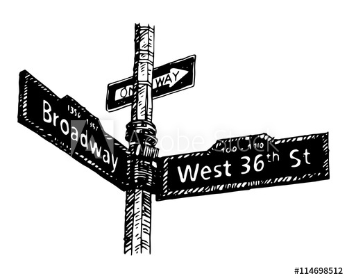 500x400 Street Sign On The Corner Of Broadway And West 36th Street In