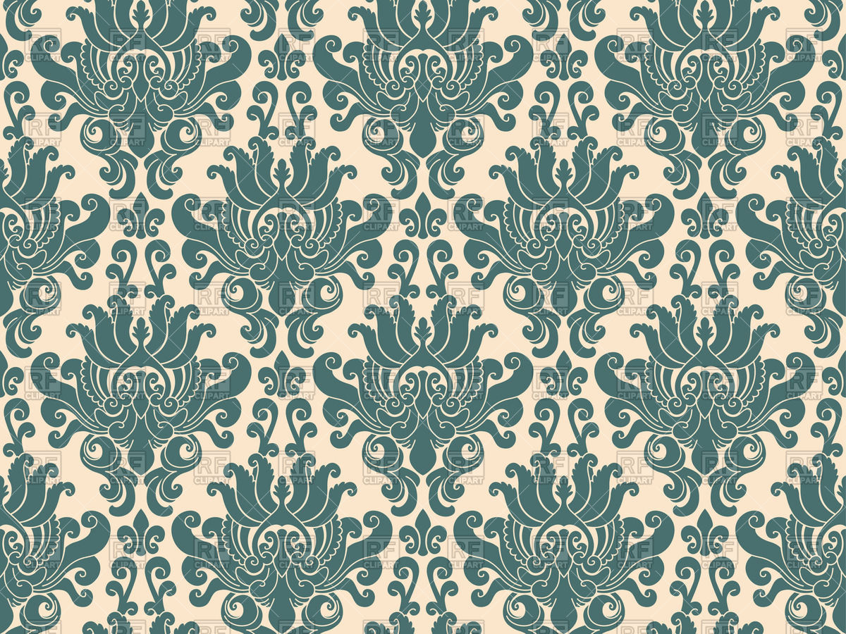 1200x900 Seamless Luxurious Blue Damask Pattern Vector Image Vector