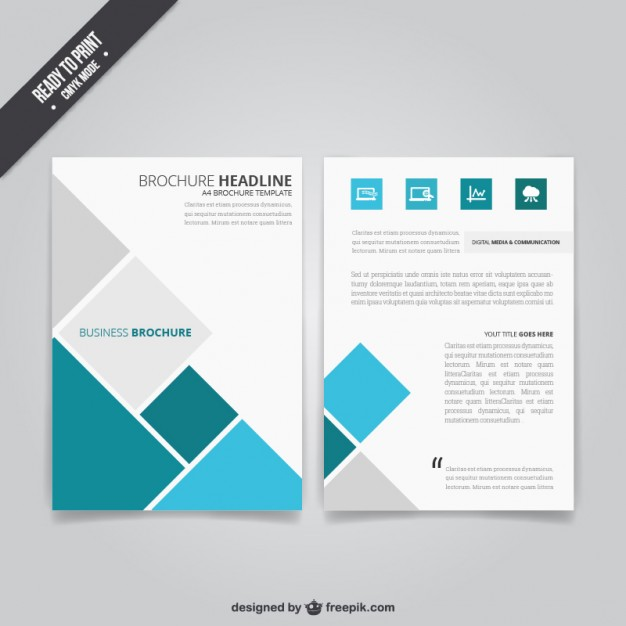 626x626 Business Brochure With Squares Vector Free Download