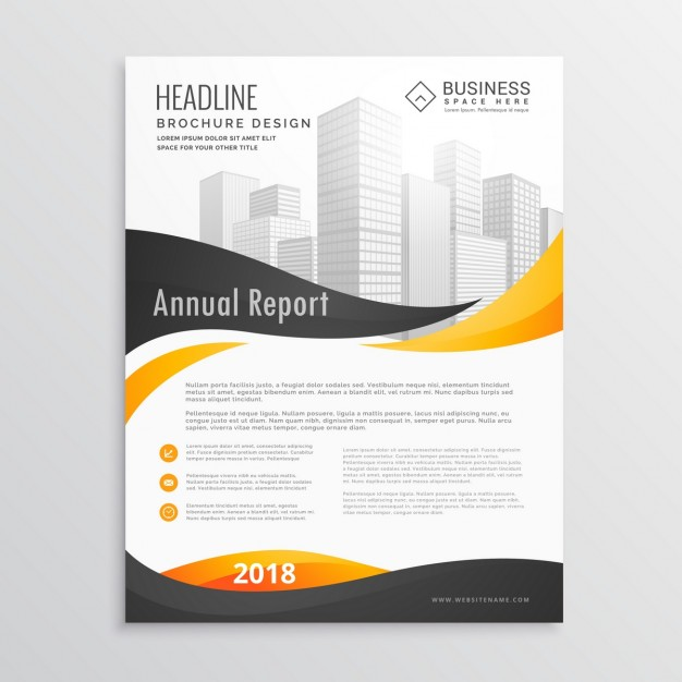 626x626 Corporate Brochure With Black And Yellow Wavy Shapes Free Vector