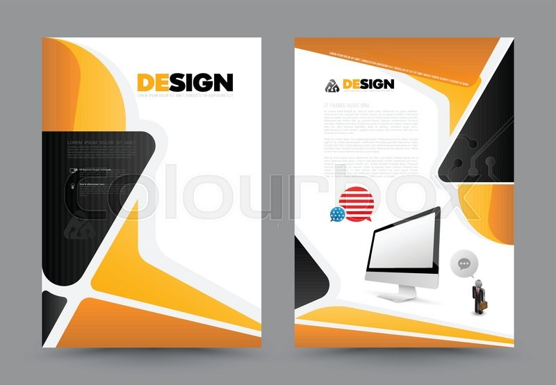 800x554 Abstract Brochure With Monitor Design Template. Book Design, Print