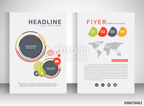 500x367 Business Flyer, Brochure Vector Template With Circle Shape Stock