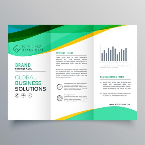 490x490 Wavy Green Trifold Business Brochure Vector Design