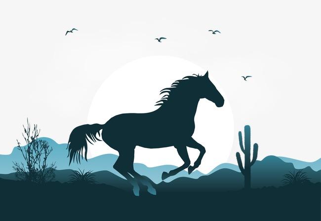650x448 Vector Illustration Mustang Scene, Mustang Scene, Broncos, Vector