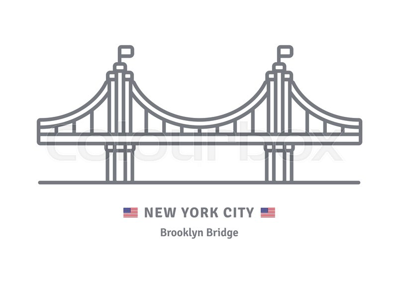 800x571 New York City Line Icon. Brooklyn Bridge And Us Flag Vector