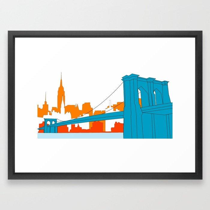 700x700 Brooklyn Bridge Vector Framed Art Print By Cwilwol Society6