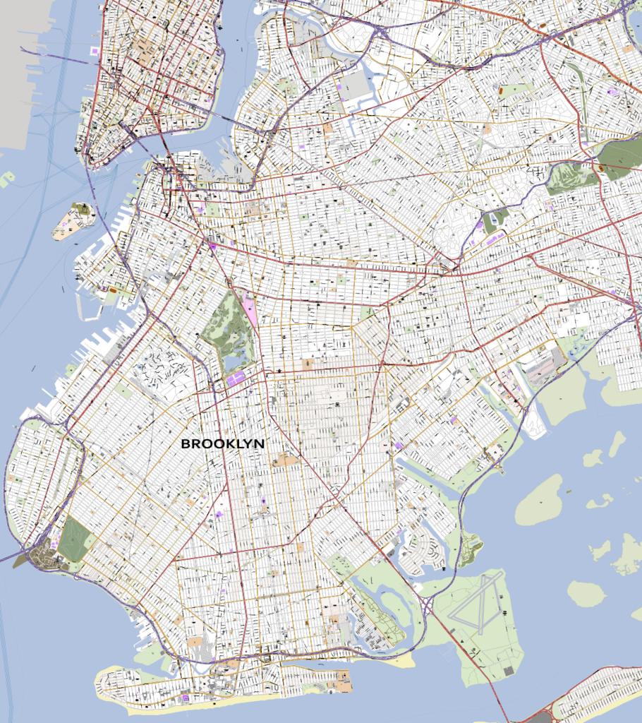 910x1024 Detailed Vector Map Of Brooklyn New York City Map Illustrators