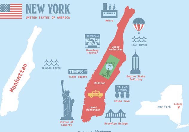 632x443 Free Manhattan Map Vector Illustration Free Vector Download 412499