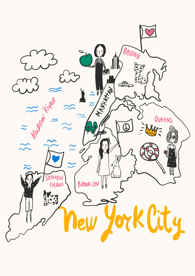 626x885 Hand Drawn New York City Map Vector For T Shirt Printing Vector