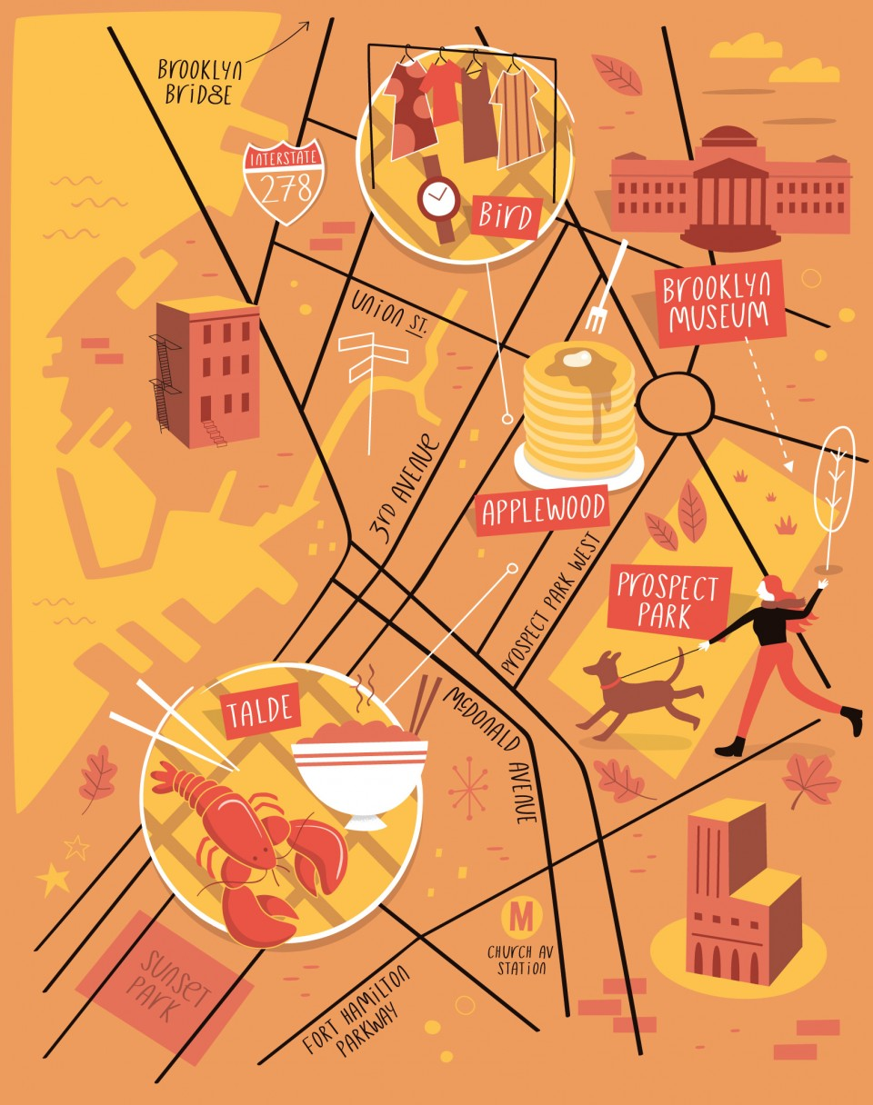 960x1216 Illustrated Map Of Park Slope, Brooklyn Tom Woolley Illustration