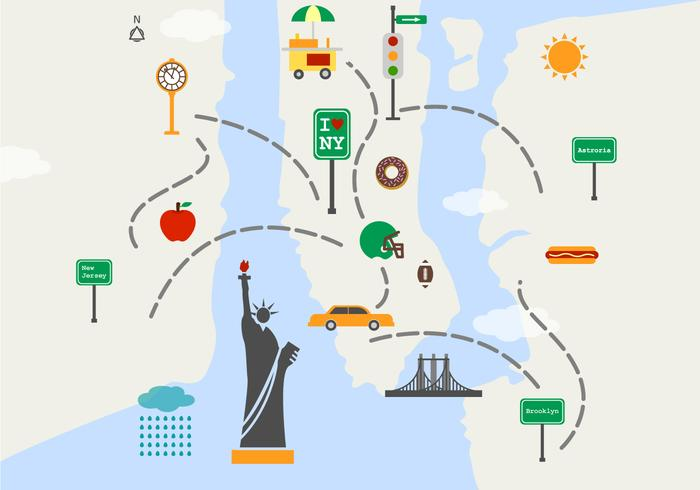 700x490 Map Of New York Sights Vector