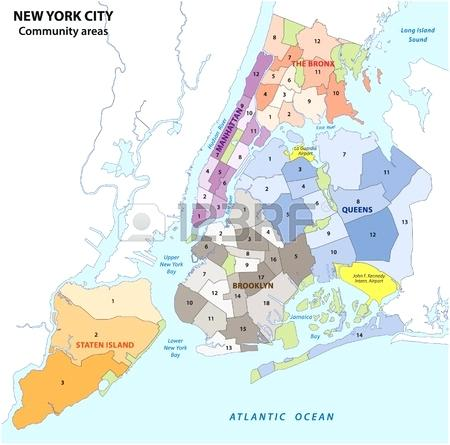 450x445 New City Boroughs Community Areas Neighborhoods Map Vector