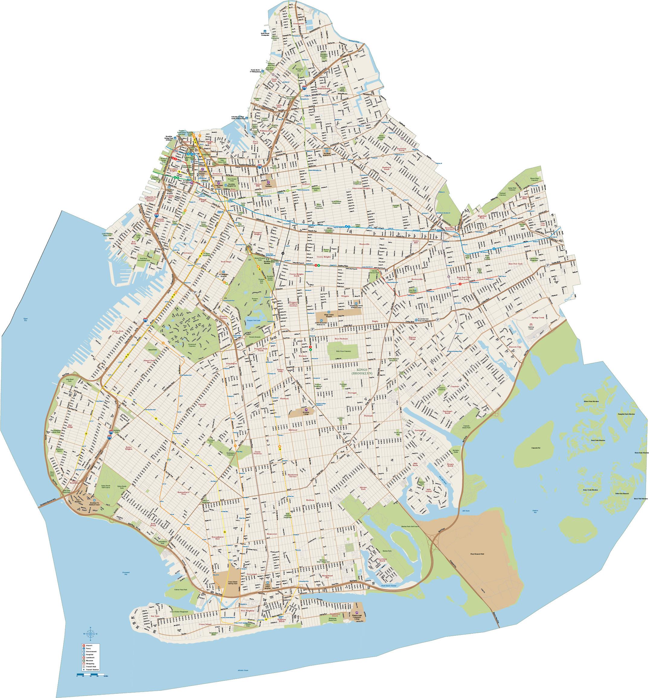 2149x2310 Brooklyn Downtown Map Digital Vector Creative Force