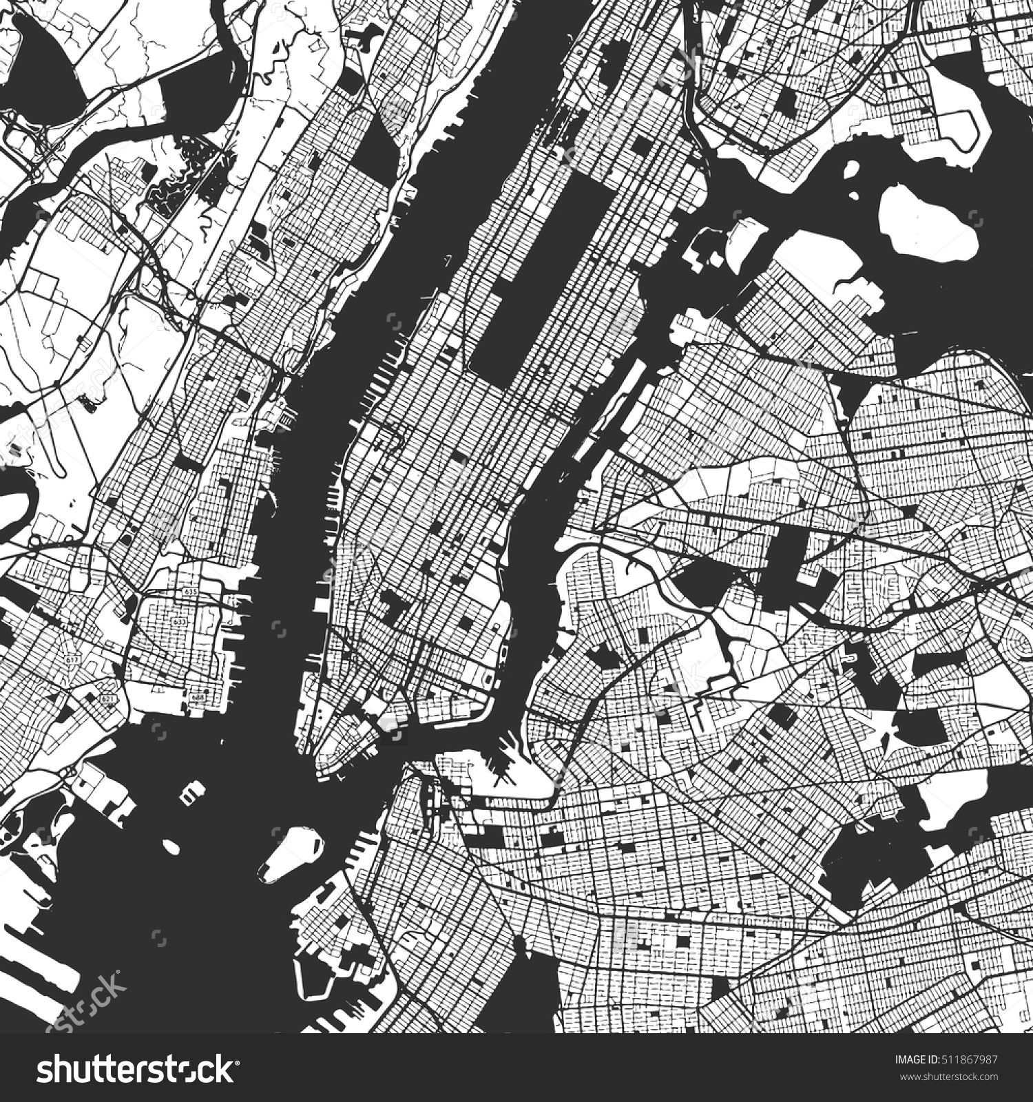 1500x1600 New York City Manhattan One Color Map, Vector Outline Version