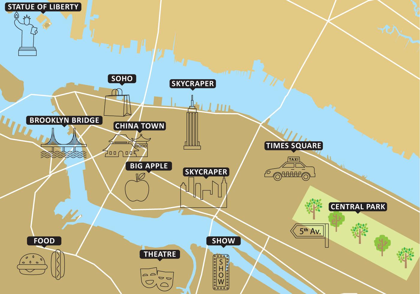 1400x980 Tourist Map New York Vector