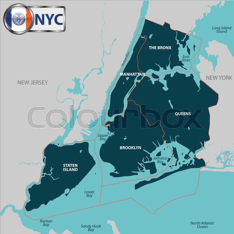 800x800 Vector Map Of Boroughs Of New York City Stock Vector Colourbox