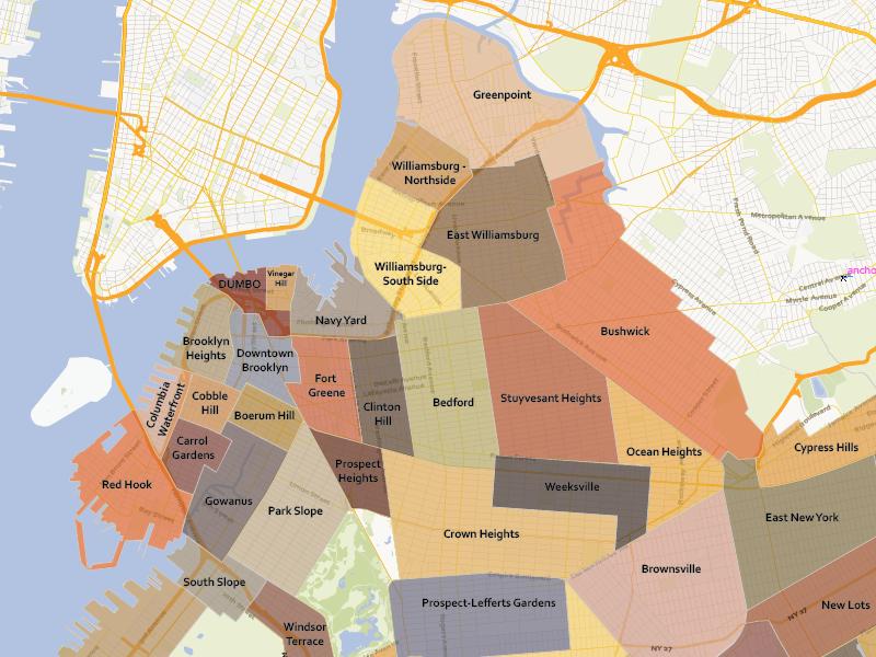 800x600 Brooklyn Neighbourhoods Vector By Map Illustrators
