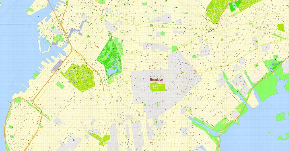 1000x524 Brooklyn Pdf Map New York City Exact Vector Street Map 100 Meters