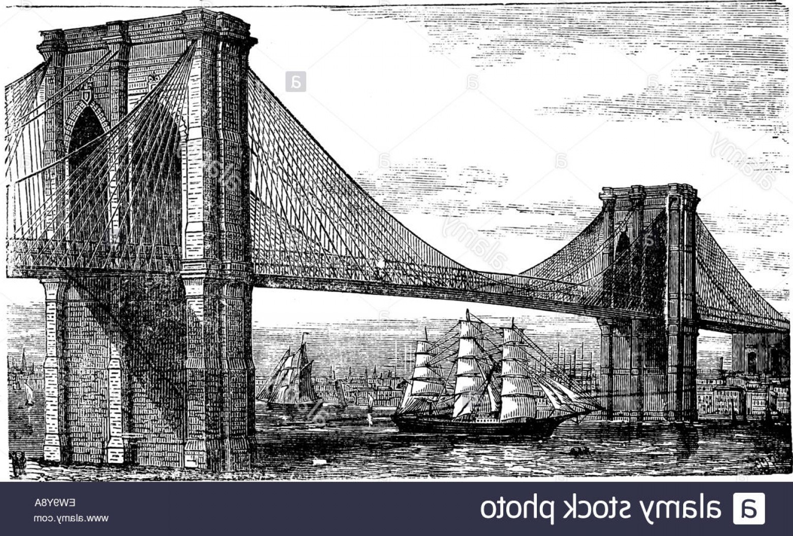 1560x1056 Stock Photo Illustration Of Brooklyn Bridge And East River New