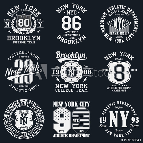 500x500 New York, Brooklyn Typography. Set Of Athletic Print For T Shirt