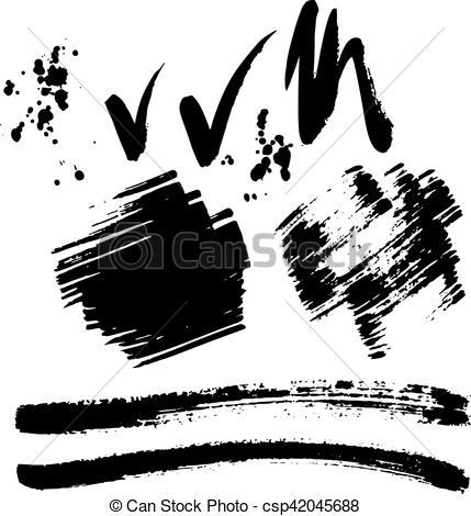 429x470 Brush Stroke Vector Set. Vector Large Set Of Different Grunge