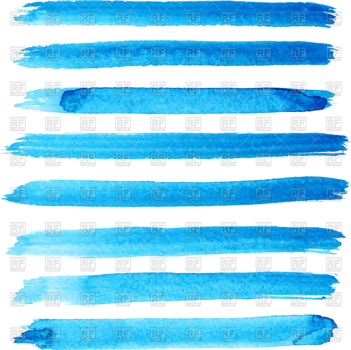 1200x1197 Set Of Bright Blue Brush Stroke Vector Image Vector Artwork Of