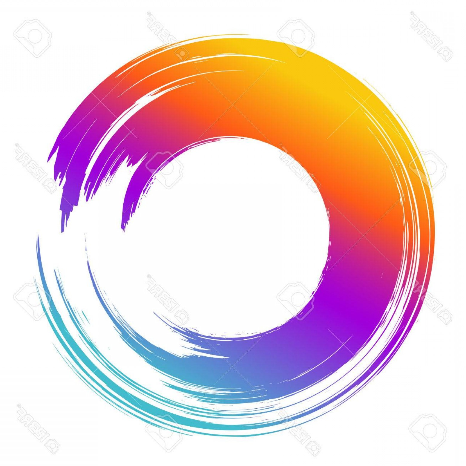 1560x1560 Photostock Vector Grunge Hand Drawn Color Paintbrush Circle Curved