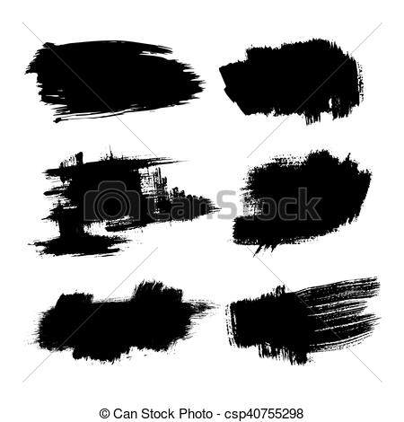 450x470 Set Of Ink Brush Stroke Vector Stains. Grunge Paint Stripe