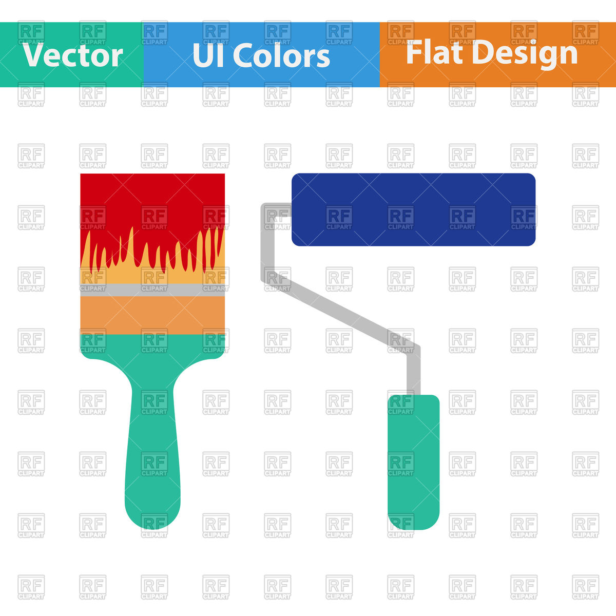 1200x1200 Flat Design Icon Of Paint Brush Vector Image Vector Artwork Of