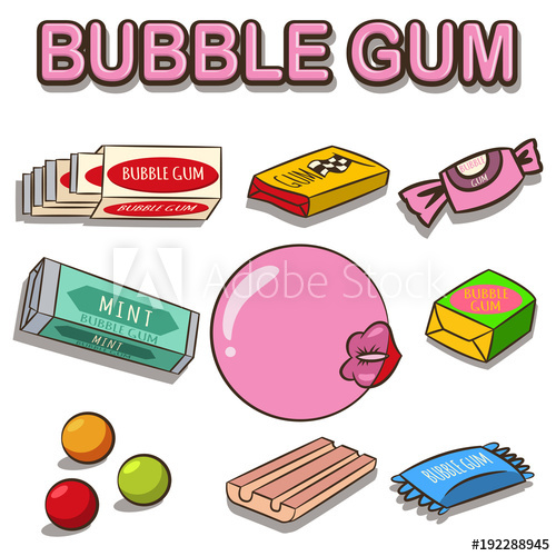 500x500 Bubble Gum Vector Cartoon Set Isolated On White Background. Woman