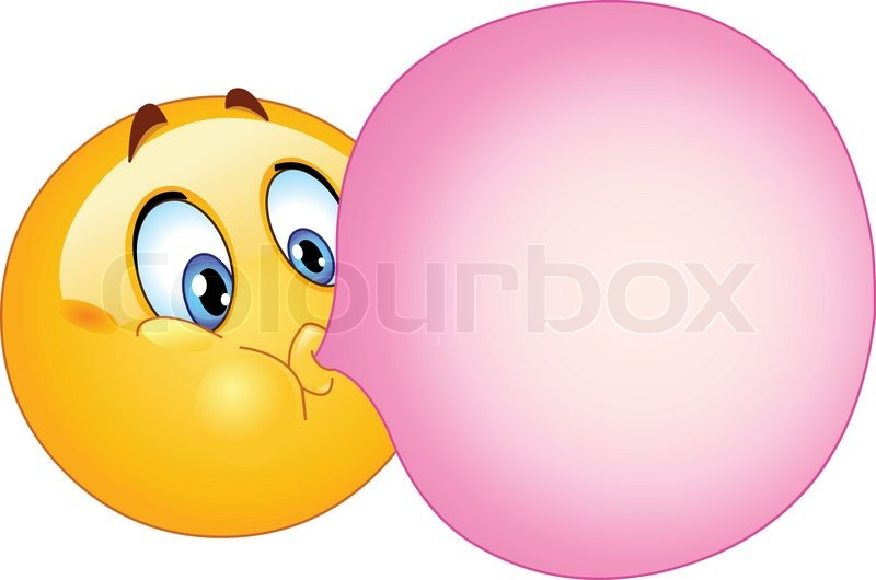800x530 Emoticon Blowing A Bubble Gum Stock Vector Colourbox