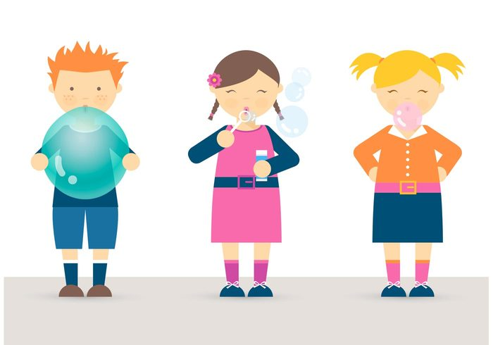 700x490 Free Vector Free Kids Blowing Balloon, Bubbles And Bubblegum