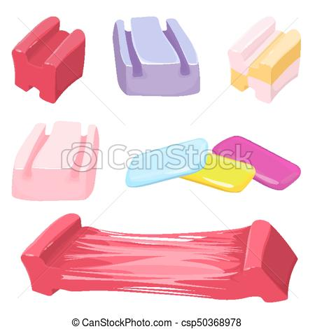 450x470 Set Of Colorful Bubble Gum Candies Vector Illustration Isolated On