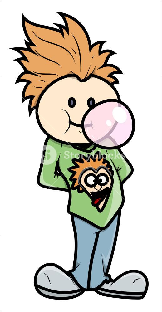 519x1000 Stylish Boy Blowing Bubble Gum