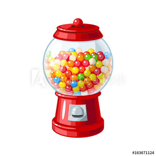 500x500 Transparent Round Glass Candy Dispenser With Colorful Bubble Gum