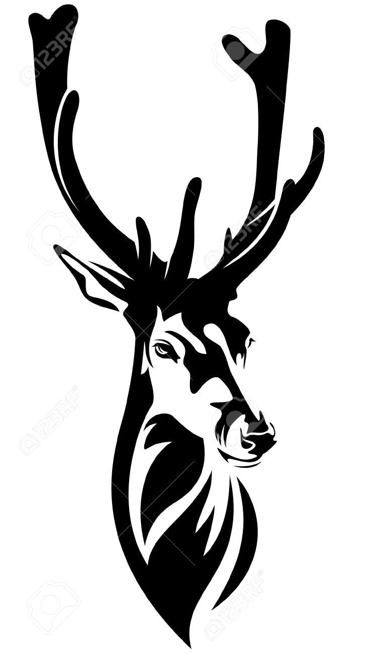 766x1300 Deer Head Outline