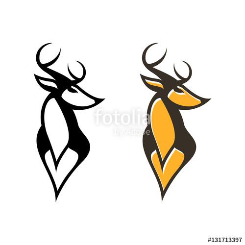 500x500 Deer Horned Buck Head Vector Vintage Logo Illustration Stock