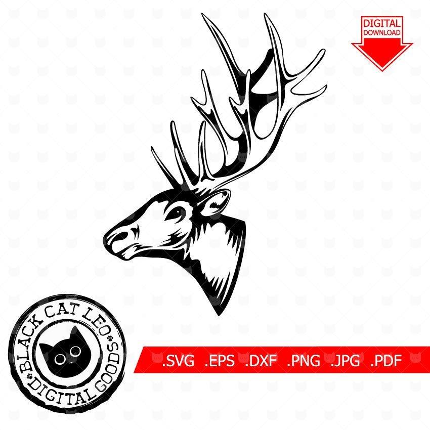 850x850 Deer Head Svg Elk Head Vector Clip Art T Shirt Design Hunting Etsy