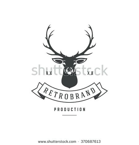 450x470 Hunting Club Logo Template Deer Head And Horns Silhouette Isolated