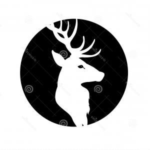300x300 Stock Illustration Deer Head Vector Illustration Black Silhouette