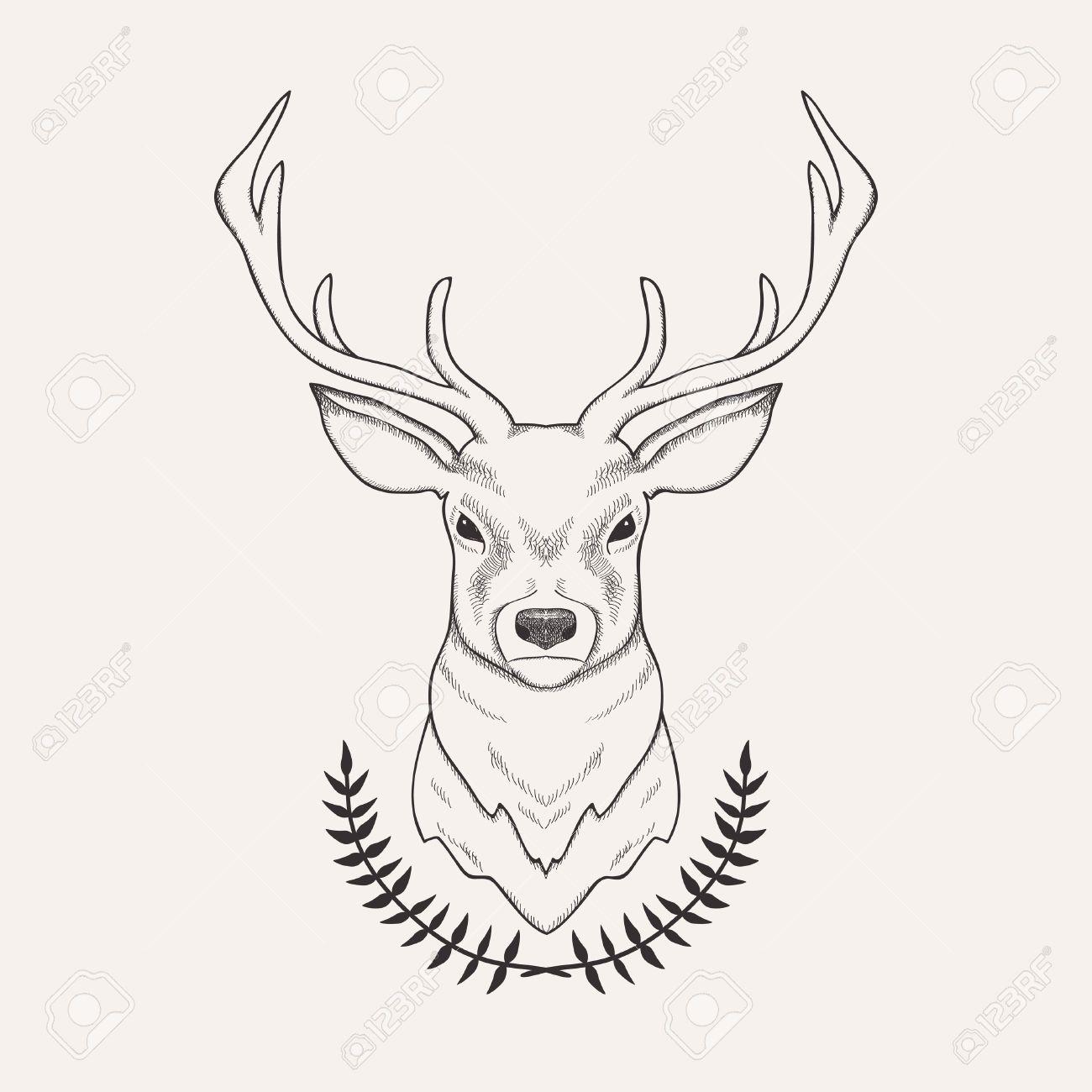 1300x1300 Vector Hand Drawn Illustration Of Deer And Laurel Tattoo Ideas