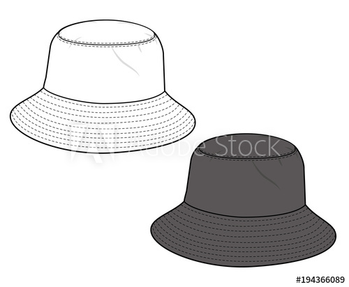 500x412 Bucket Hat Vector Illustration Flat Sketches Template