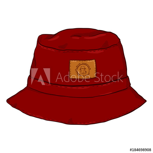500x500 Vector Single Red Cartoon Bucket Hat. Front View.