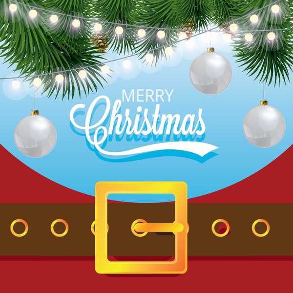 600x600 Christmas Greeting Card With Belt Buckle Vector 08 Free Download