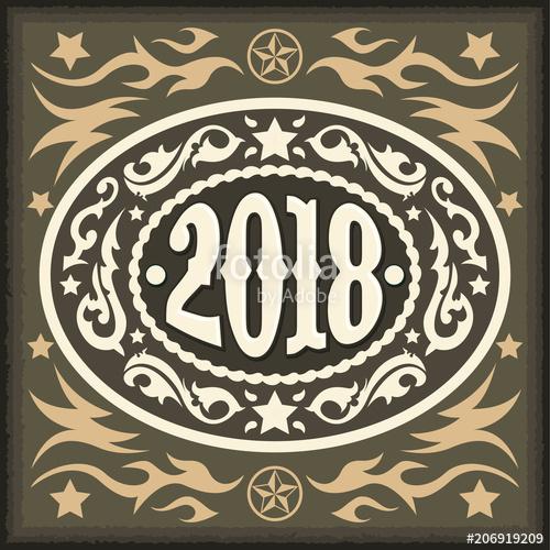 500x500 2018 Year Oval Western Cowboy Belt Buckle, Vector Illustration